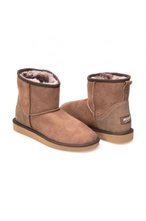 Pegia Genuine Suede Shearling Lined Women's Classic Ankle Boots 191056 Visone