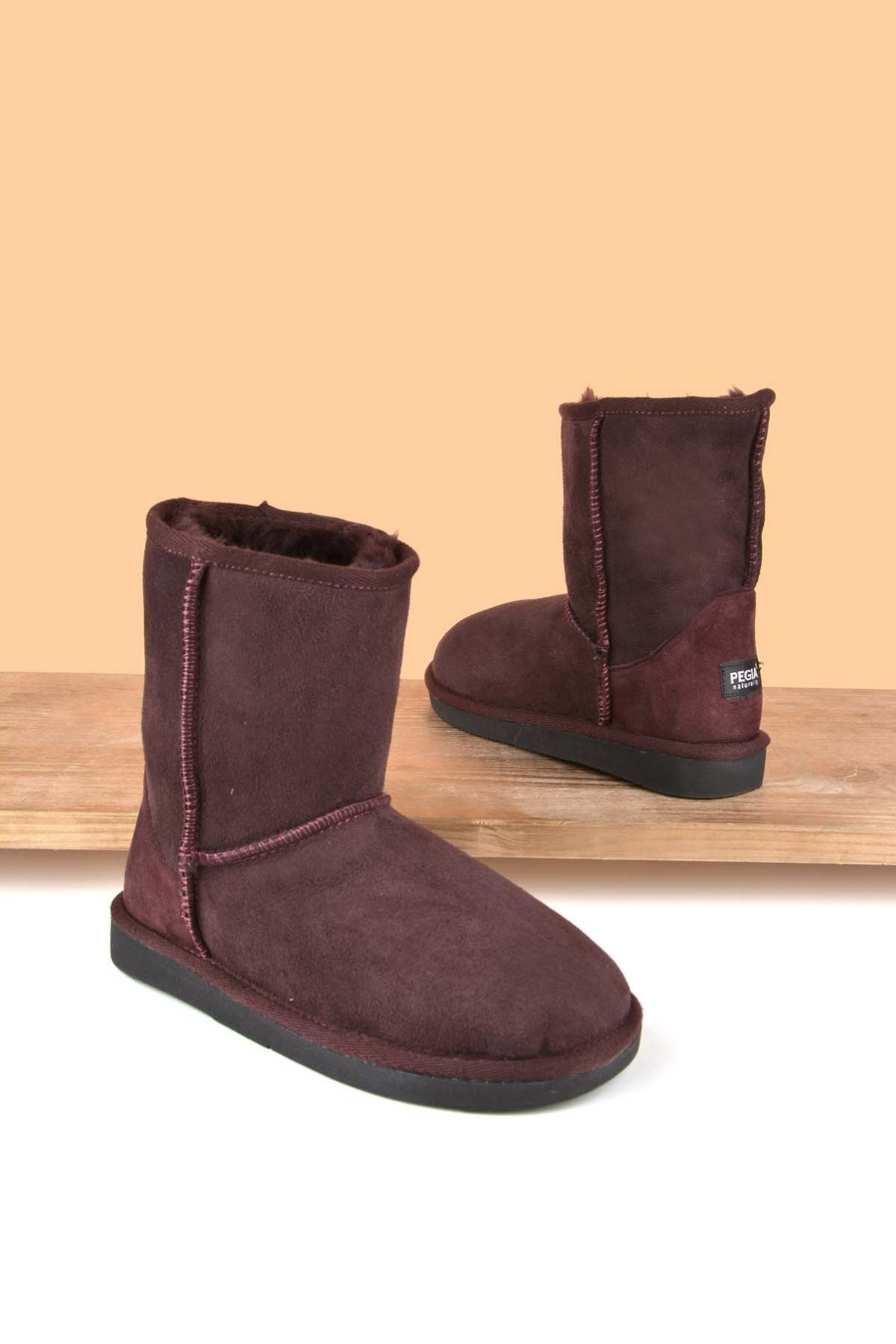 Pegia Classic Kids Boots From Genuine Suede And Sheepskin Fur Claret red