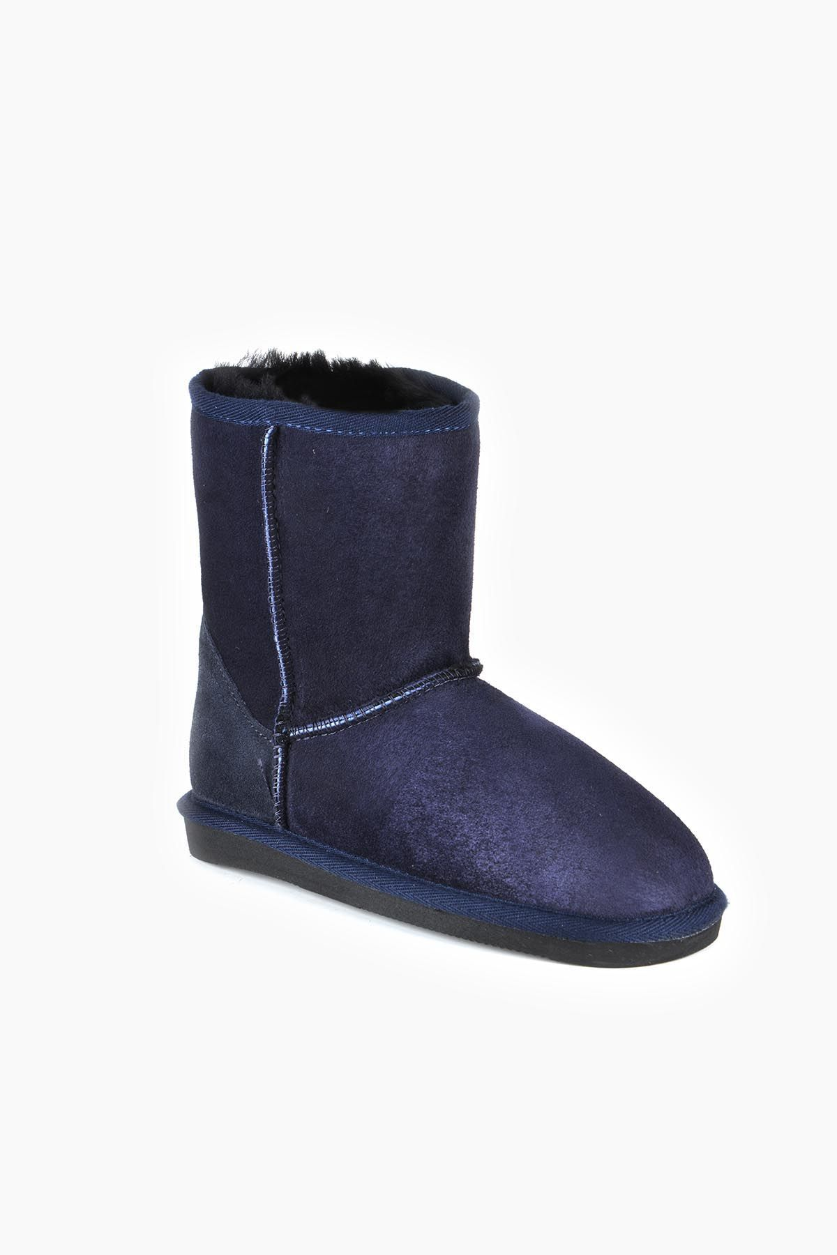 Pegia Classic Kids Boots From Genuine Suede And Sheepskin Fur Navy blue