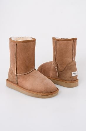 Pegia Classic Kids Boots From Genuine Suede And Sheepskin Fur Sand-colored