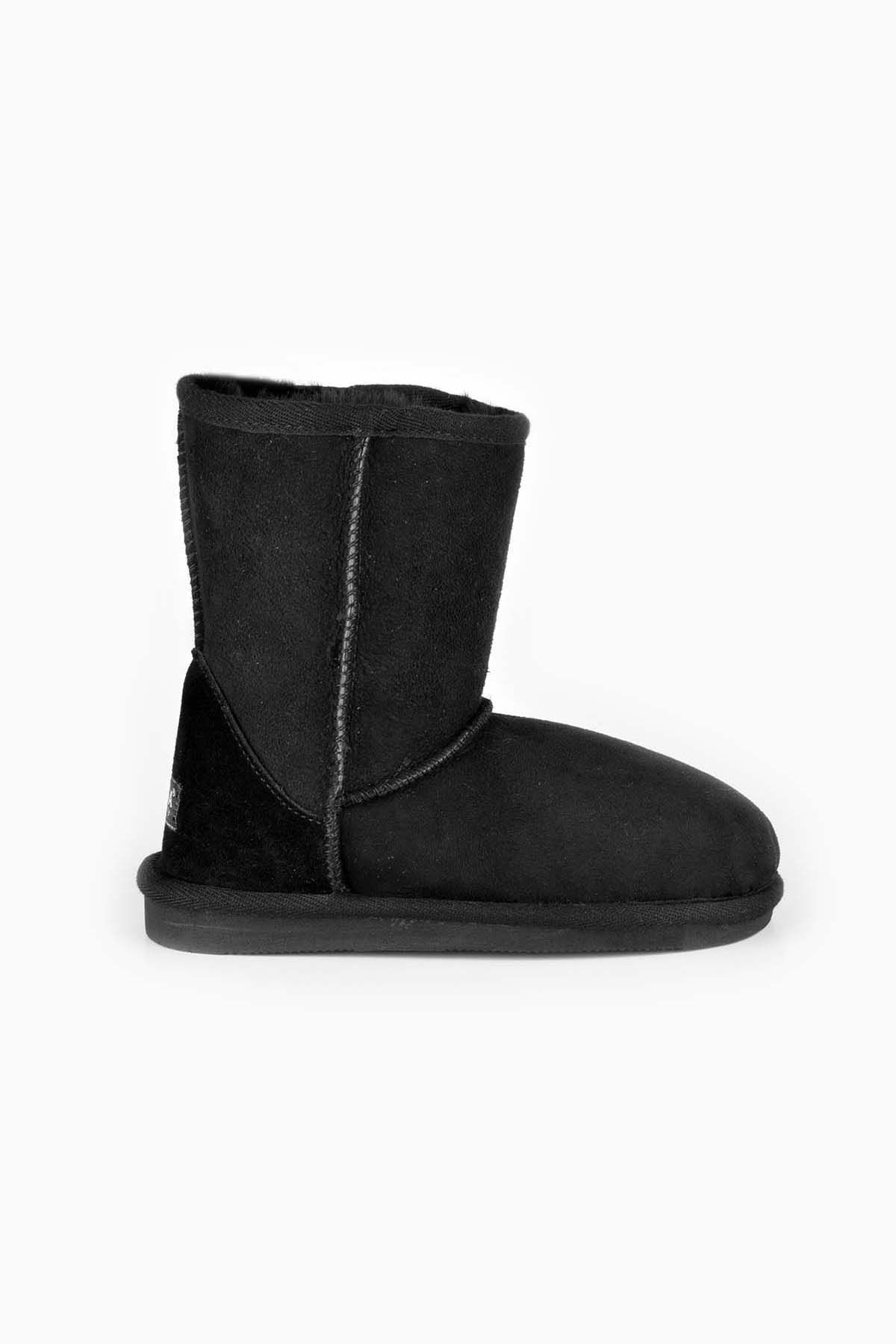 Pegia Classic Kids Boots From Genuine Suede And Sheepskin Fur Black