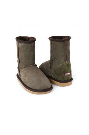 Pegia Classic Kids Boots From Genuine Suede And Sheepskin Fur Khaki