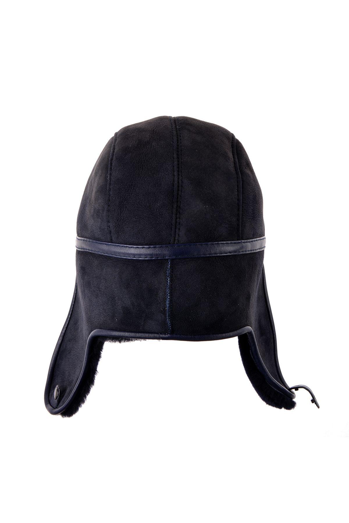 Pegia Hakiki Süet İçi Kürk Kulaklıklı Şapka 18AS04 Lacivert