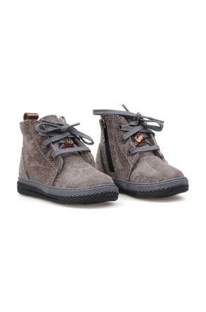 Pegia Genuine Sheepskin Lined Kid's Boots 186022 Gray