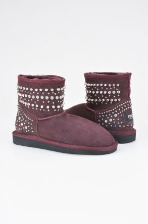 Pegia Women Boots From Genuine Suede And Sheepskin Fur Decorated With Stones 191071 Claret red