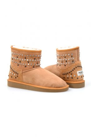 Pegia Women Boots From Genuine Suede And Sheepskin Fur Decorated With Stones 191071 Ginger