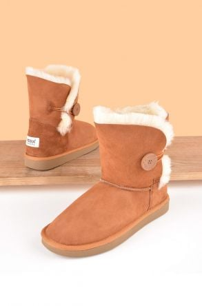 Pegia Genuine Sheepskin Suede Women's Boots with Botton 191031 Ginger