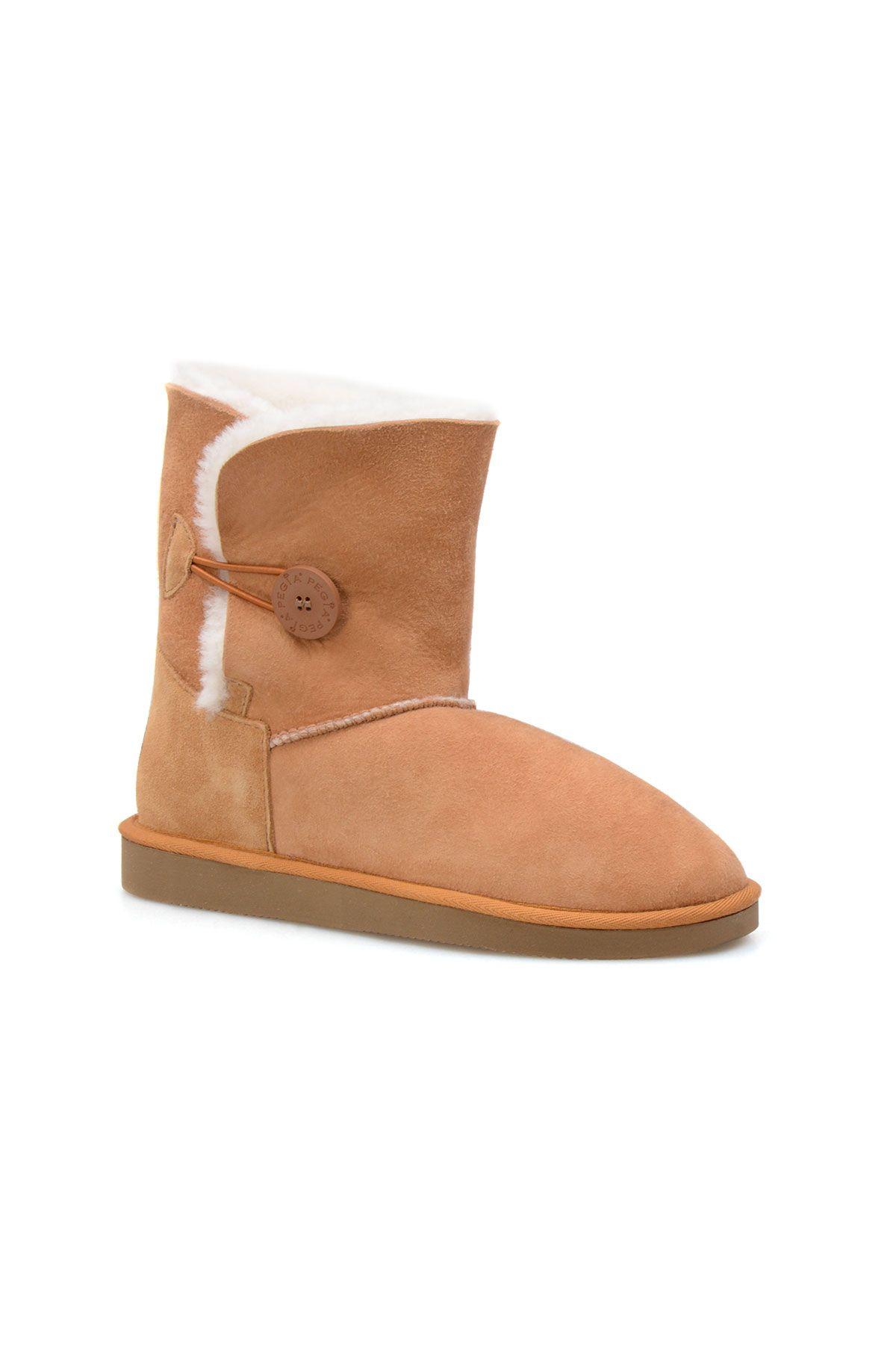 Pegia Genuine Sheepskin Suede Women's Boots with Botton 191031 Ginger