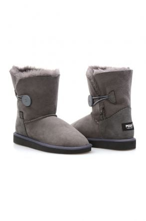 Pegia Genuine Sheepskin Suede Women's Boots with Botton 191031 Gray