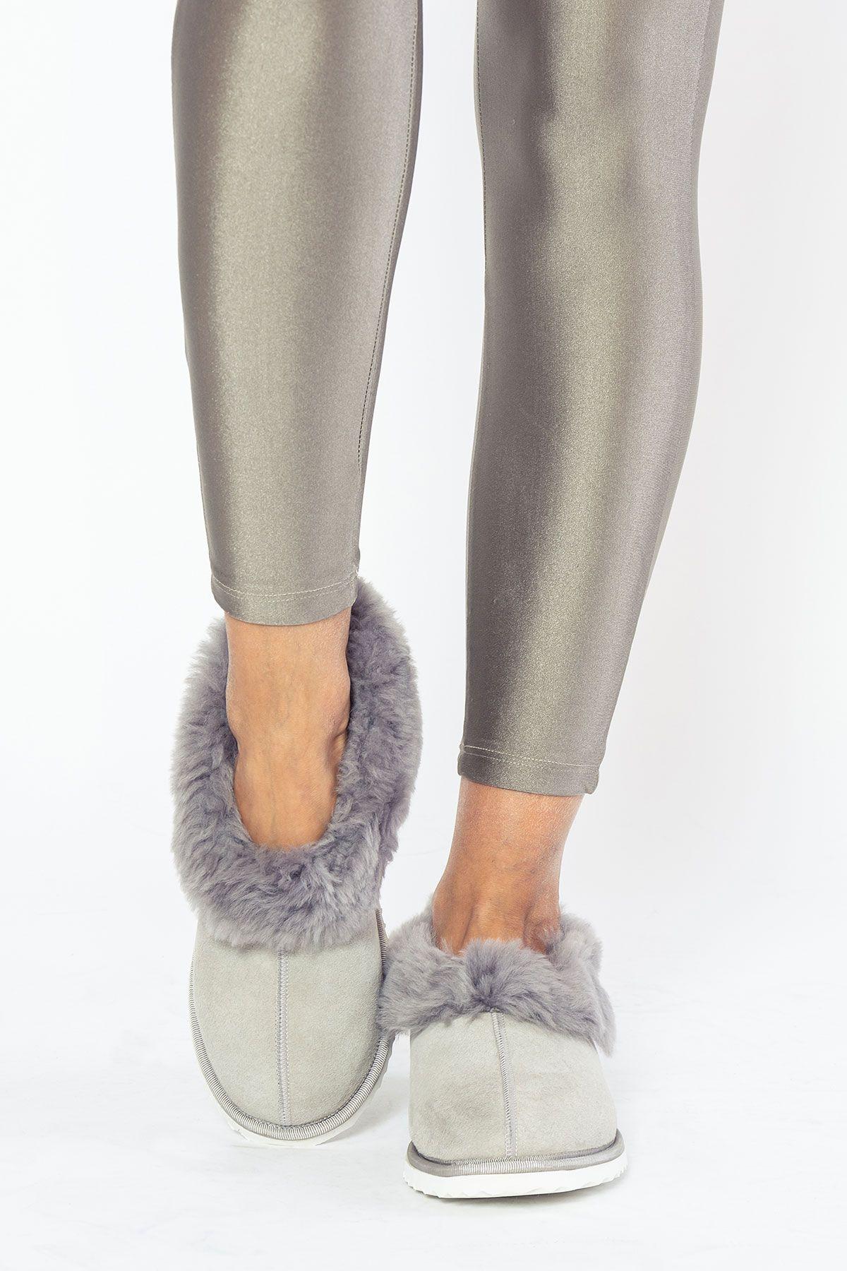 Pegia Genuine Suede Women's Sheepskin Lined House Shoes 191100 Gray