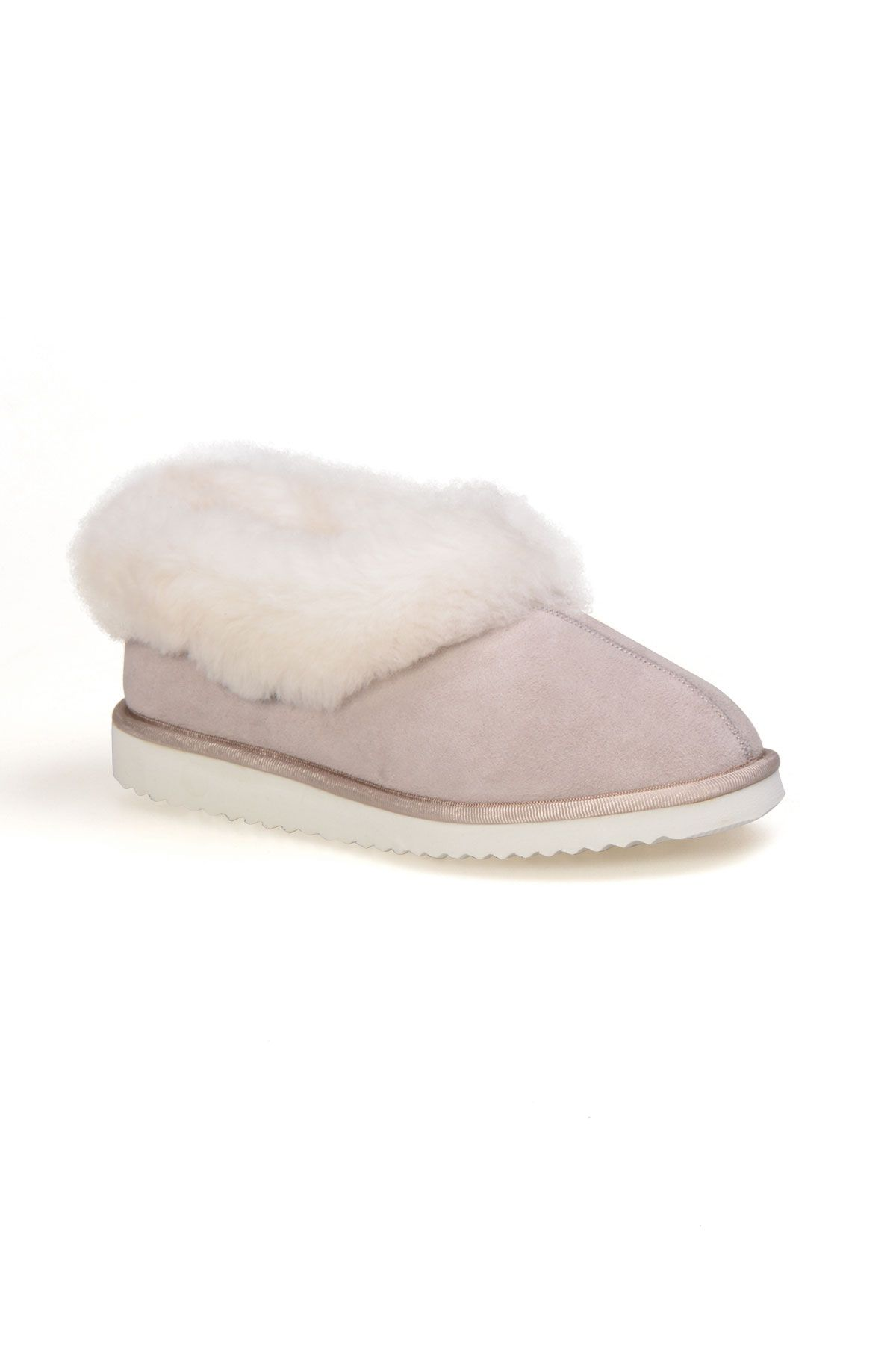 Pegia Genuine Suede Women's Sheepskin Lined House Shoes 191100 Beige