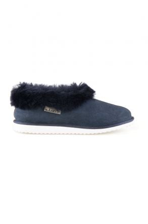 Pegia Genuine Suede Women's Sheepskin Lined House Shoes 191100 Navy blue