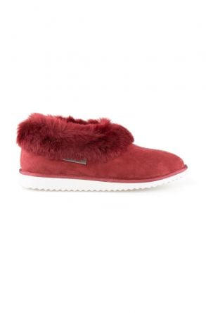 Pegia Genuine Suede Women's Sheepskin Lined House Shoes 191100 Claret red
