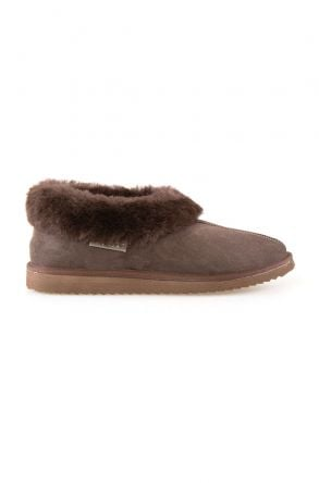 Pegia Genuine Suede Women's Sheepskin Lined House Shoes 191100 Brown