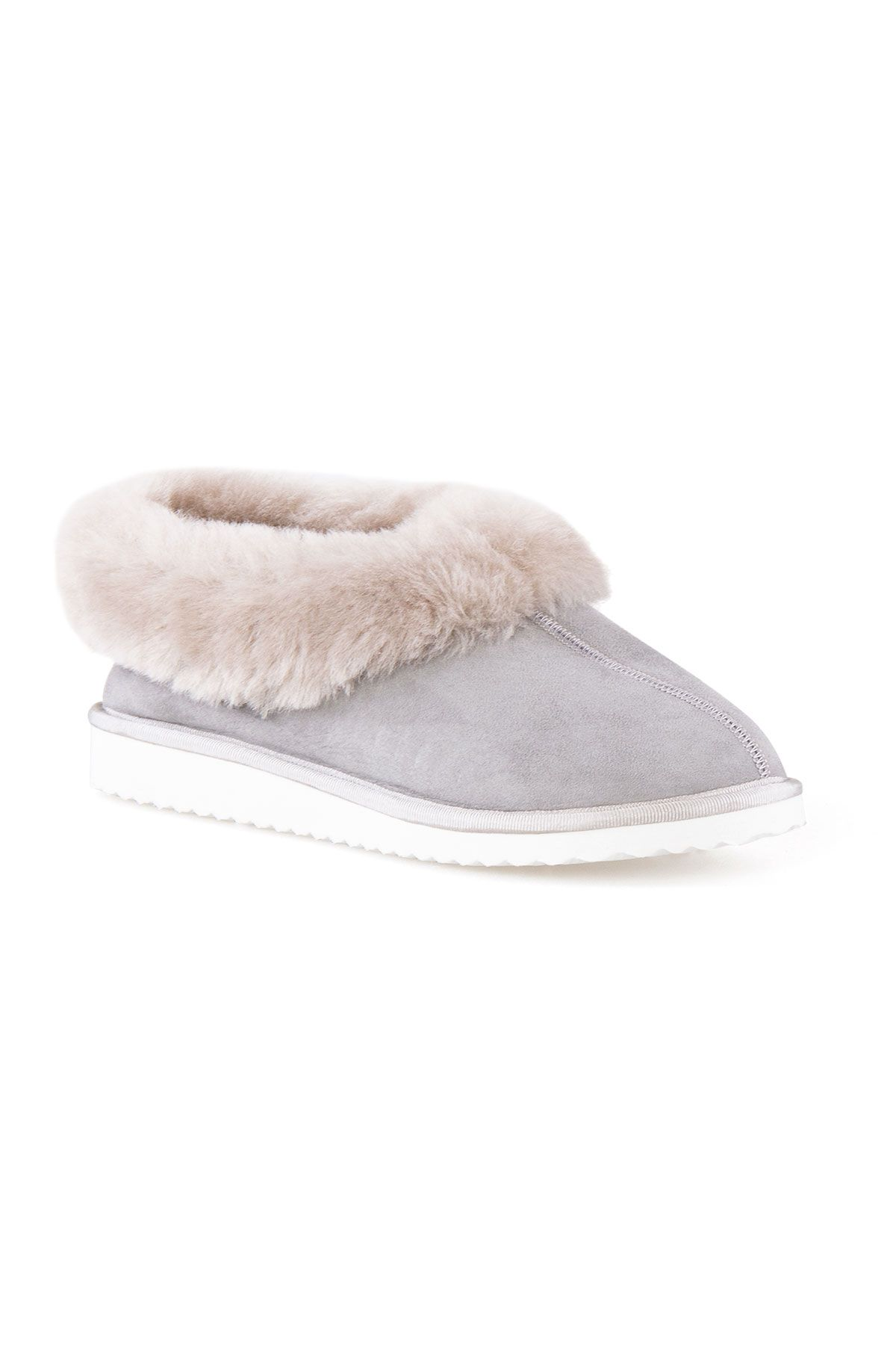 Pegia Genuine Suede Women's Sheepskin Lined House Shoes 191100 Gray