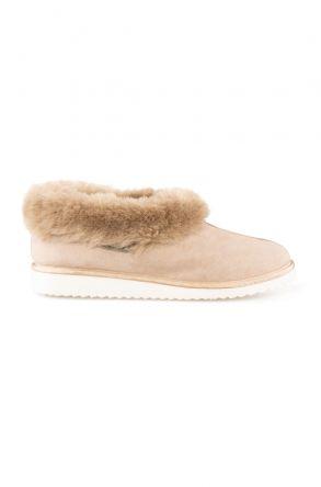 Pegia Genuine Suede Women's Sheepskin Lined House Shoes 191100 Visone