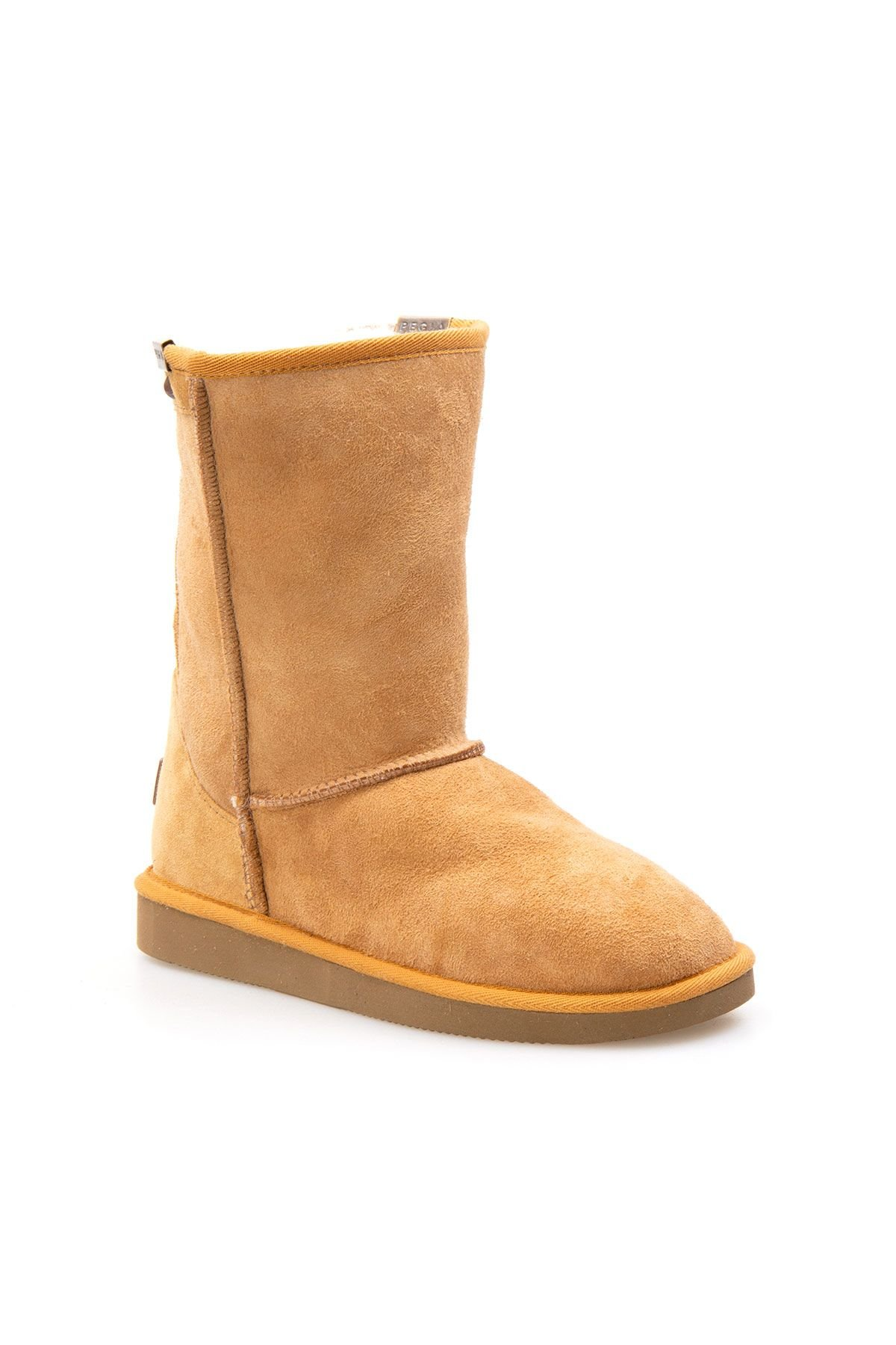 Pegia Genuine Suede Sheepskin Lined Women's Laced Boots 191052 Ginger