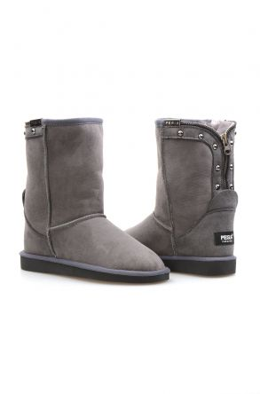 Pegia Genuine Suede Sheepskin Lined Women's Laced Boots 191052 Gray