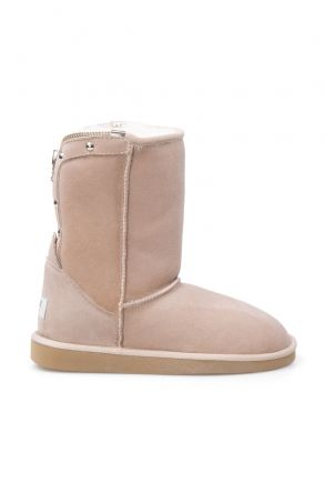 Pegia Genuine Suede Sheepskin Lined Women's Laced Boots 191052 Beige
