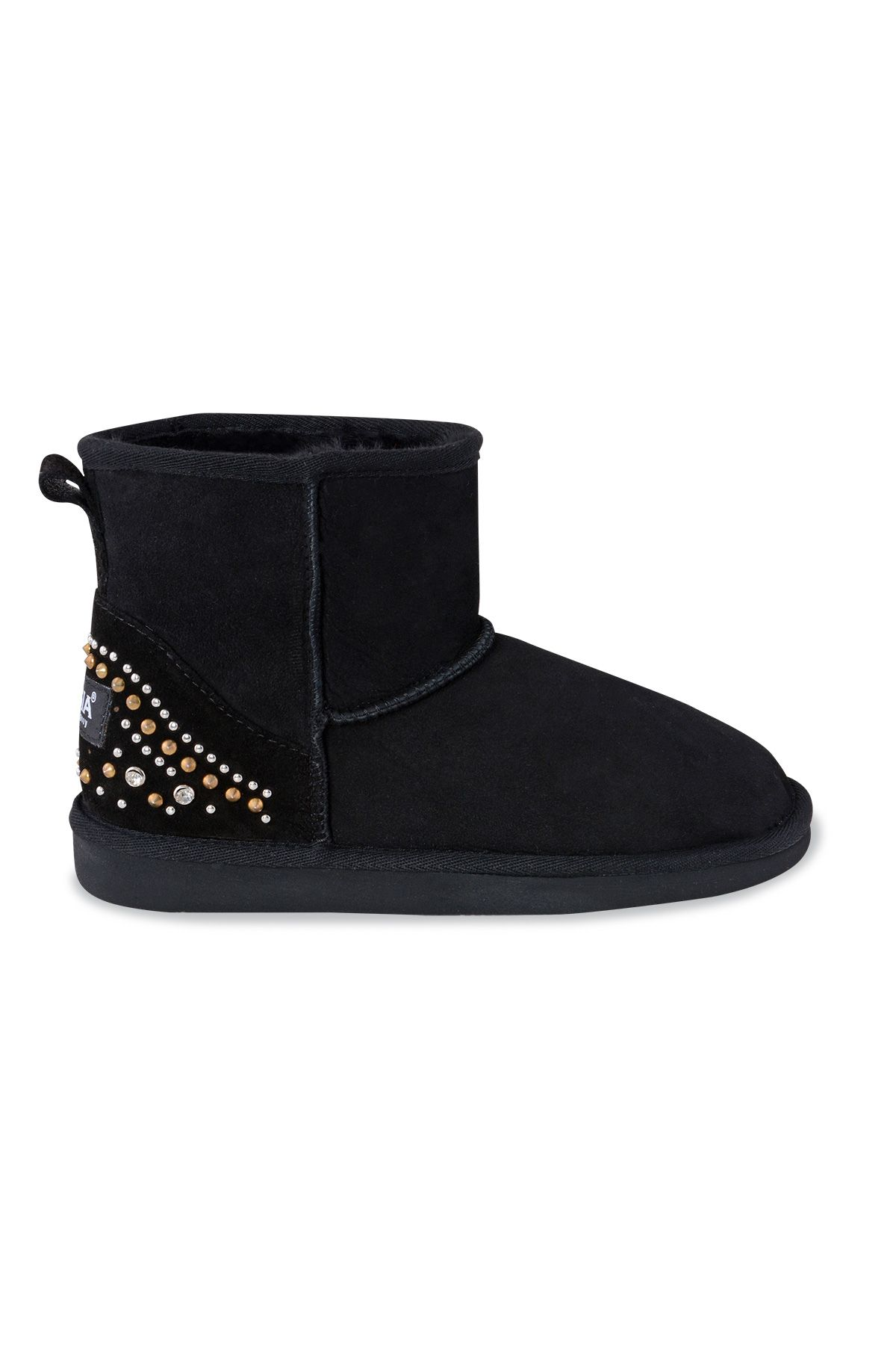 Pegia Genuine Suede & Shearling Short Women's Boots With Stones 191075 Black