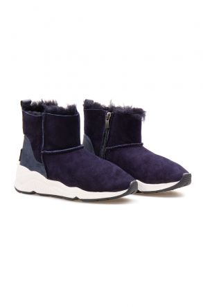 Pegia Genuine Sheepskin Women's Boots 192015 Navy blue