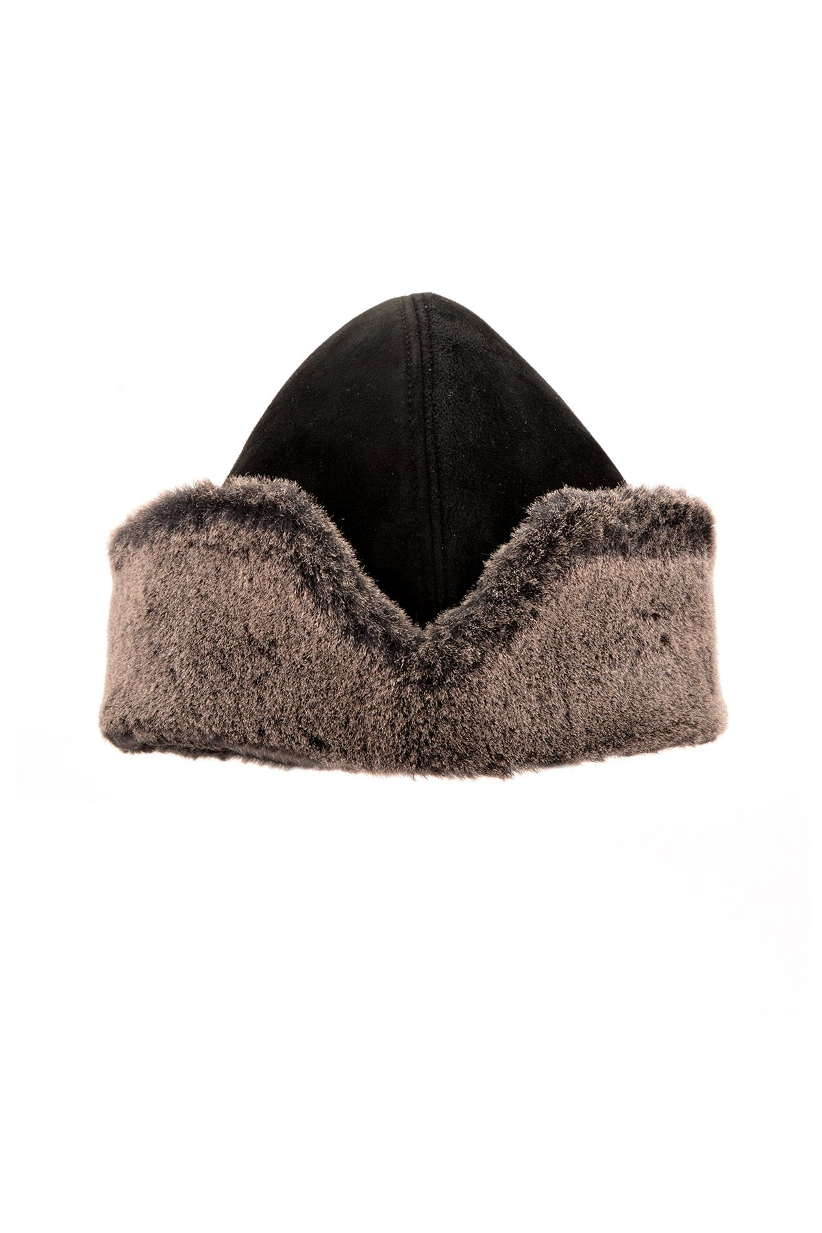 Pegia Hakiki Süet Kürklü Diriliş Şapka 18AS11 Siyah
