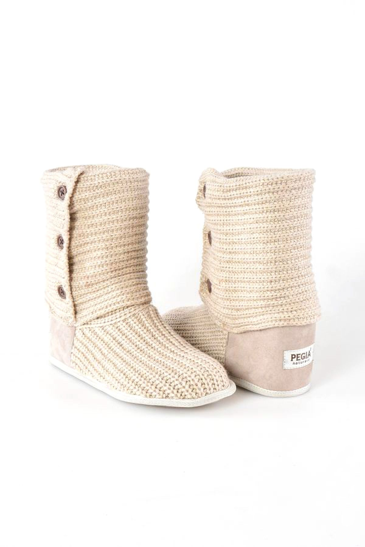 Pegia Hakiki Süet Örgülü Bayan Ev Ayakkabısı 191098 Beige