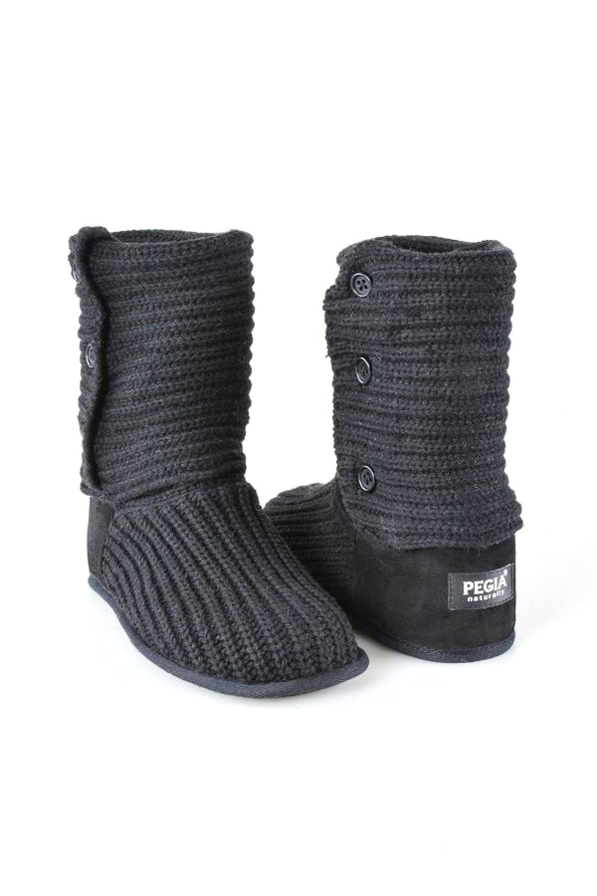 Pegia Hakiki Süet Örgülü Bayan Ev Ayakkabısı 191098 Black