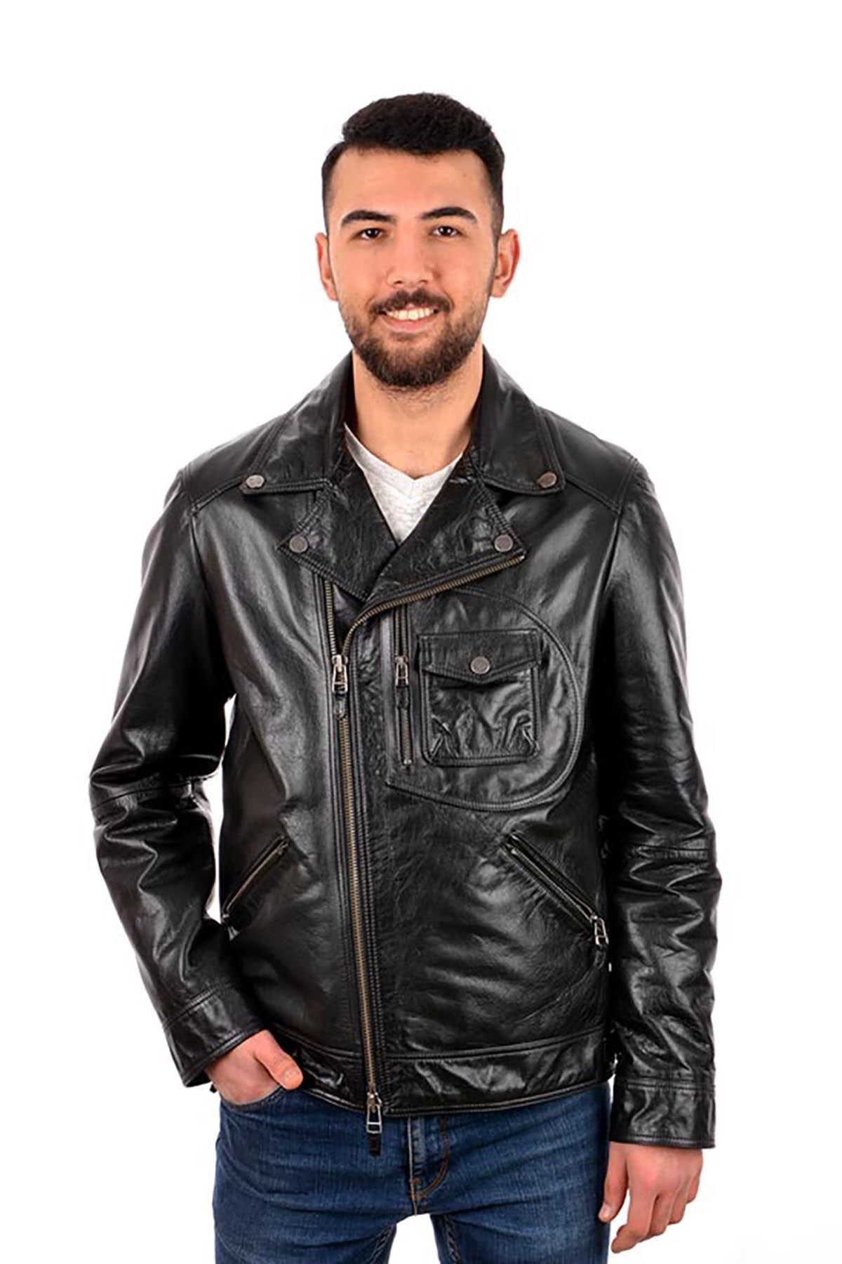 Pegia Hakiki Vintage Deri Erkek Ceket 17CE22 Siyah