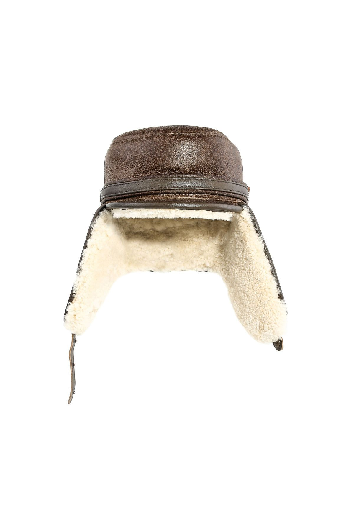 Pegia Ear-Flaps Hat From Vintage Leather  Brown