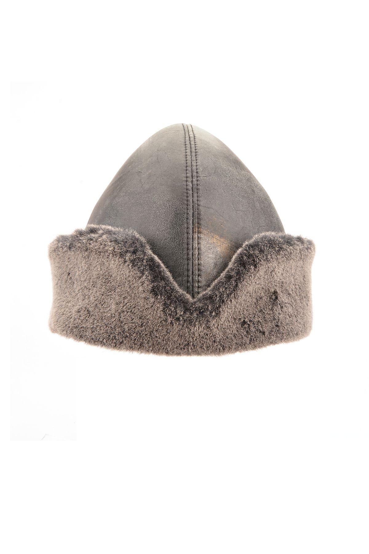 Pegia Hakiki Vintage Deri Kürklü Diriliş Şapka 18AS09 Gri
