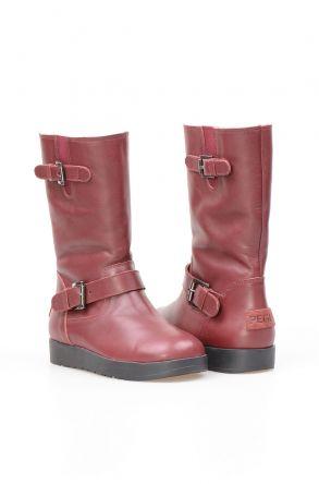 Pegia Женские Кожаные Ботинки с Овчинной Подкладкой NY2003 Бордовый