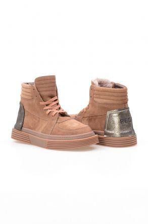 Pegia Kürk Astarlı Hakiki Deri Bayan Sneaker NY2009 Kahve