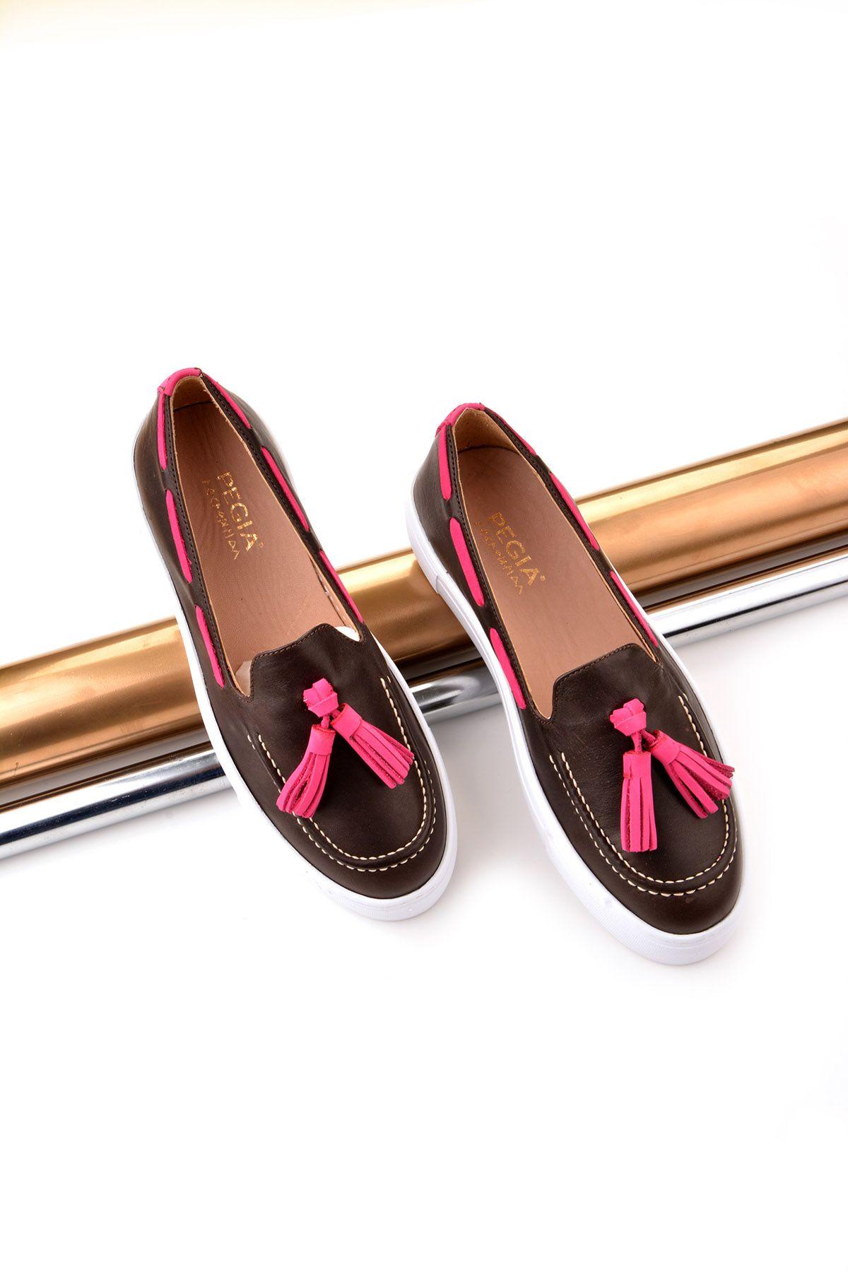 Pegia Pernety Hakiki Deri Bayan Günlük Ayakkabı REC-010 Kahve