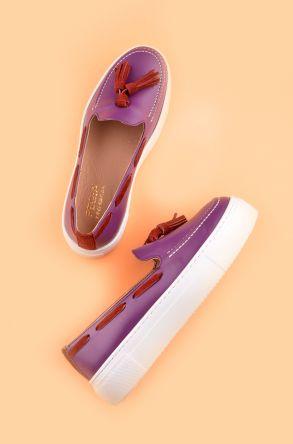 Pegia Pernety Hakiki Deri Bayan Günlük Ayakkabı REC-010 Mor