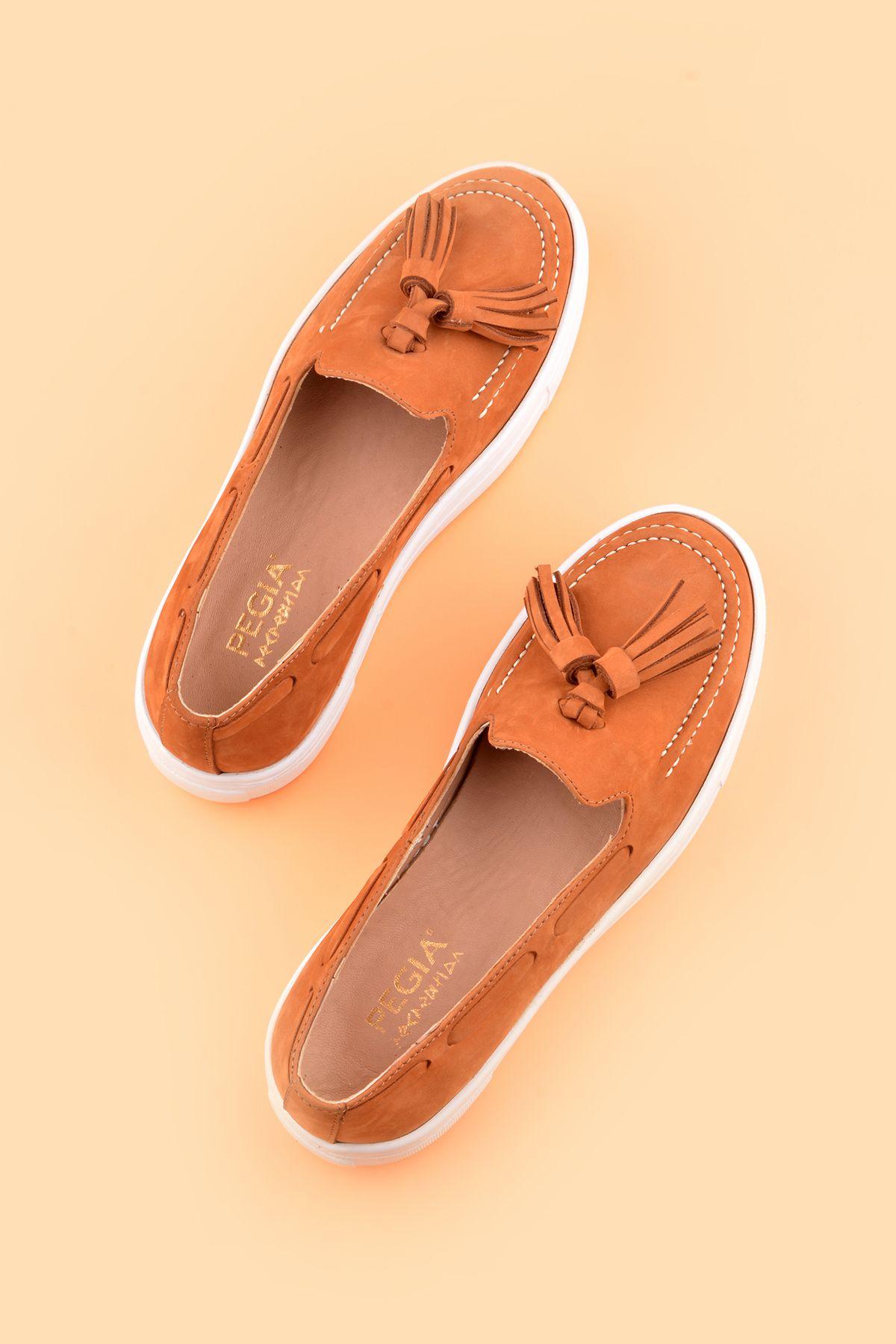 Pegia Pernety Hakiki Deri Bayan Günlük Ayakkabı REC-010 Taba