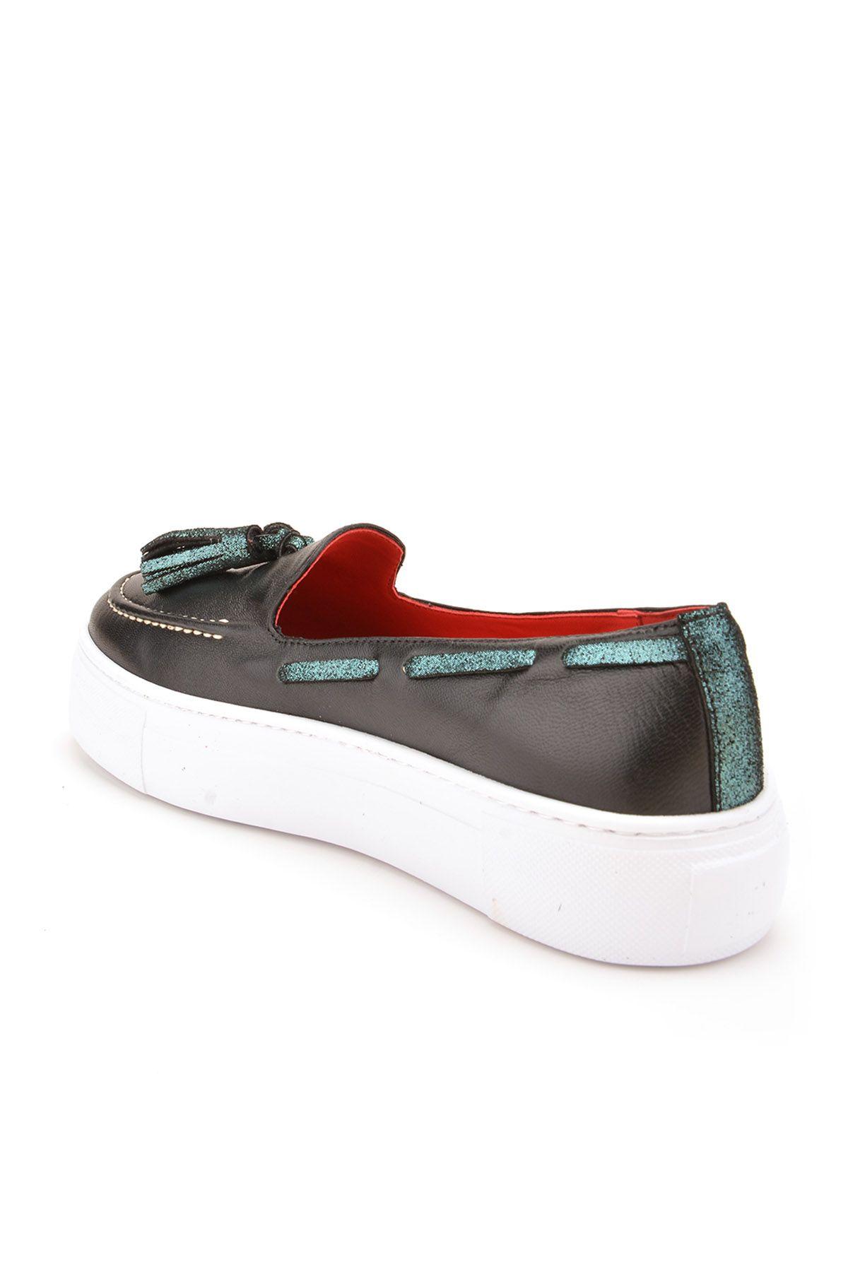 Pegia Pernety Hakiki Deri Bayan Günlük Ayakkabı REC-010 Siyah