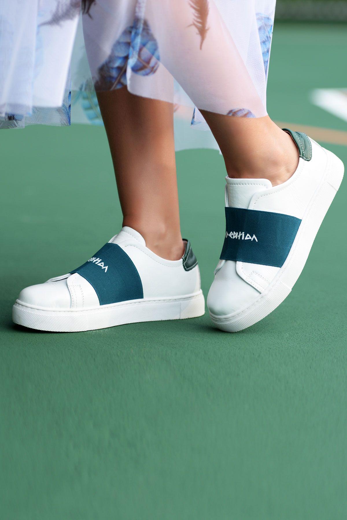 Pegia Recreation Hakiki Deri Bayan Sneaker 19REC101 Petrol Mavisi