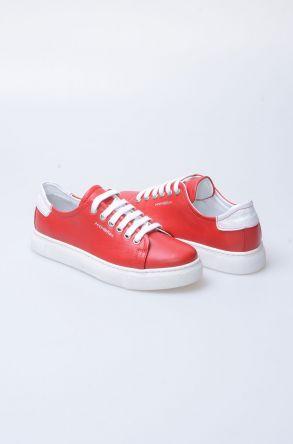 Pegia Recreation Hakiki Deri Bayan Sneaker 19REC201 Kırmızı