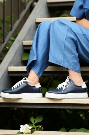 Pegia Recreation Hakiki Deri Bayan Sneaker 19REC201 Navy blue