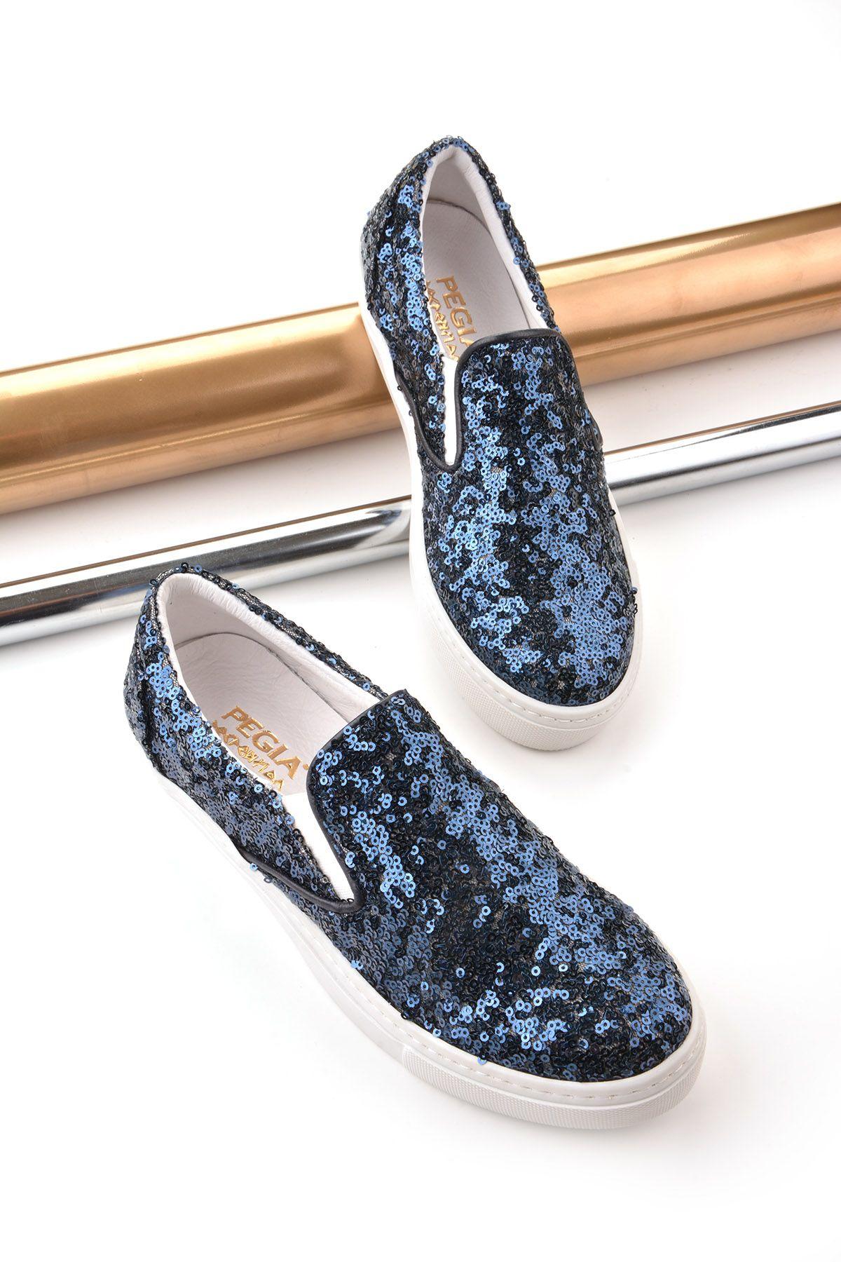 Pegia Sucre Hakiki Deri Payetli Bayan Sneaker REC-012 Lacivert