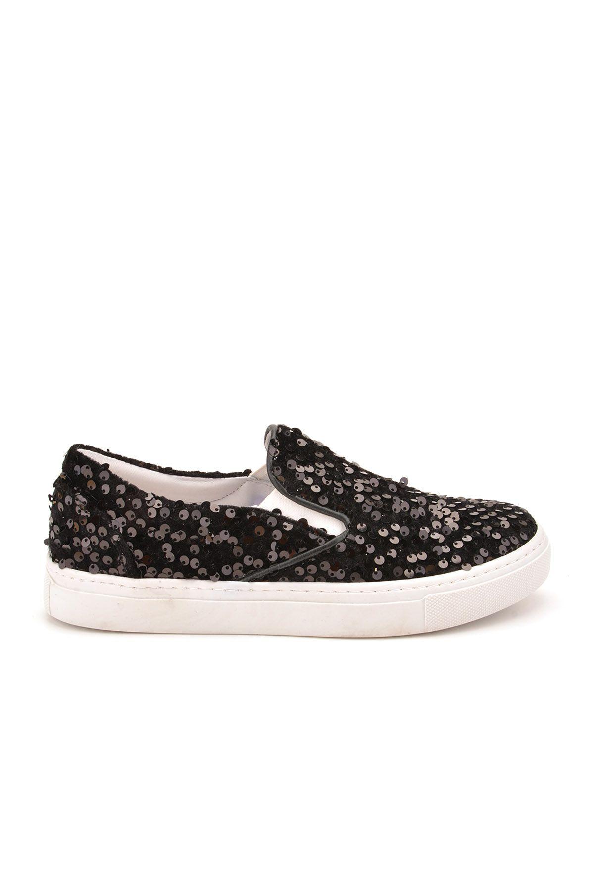 Pegia Sucre Hakiki Deri Payetli Bayan Sneaker REC-012 Siyah