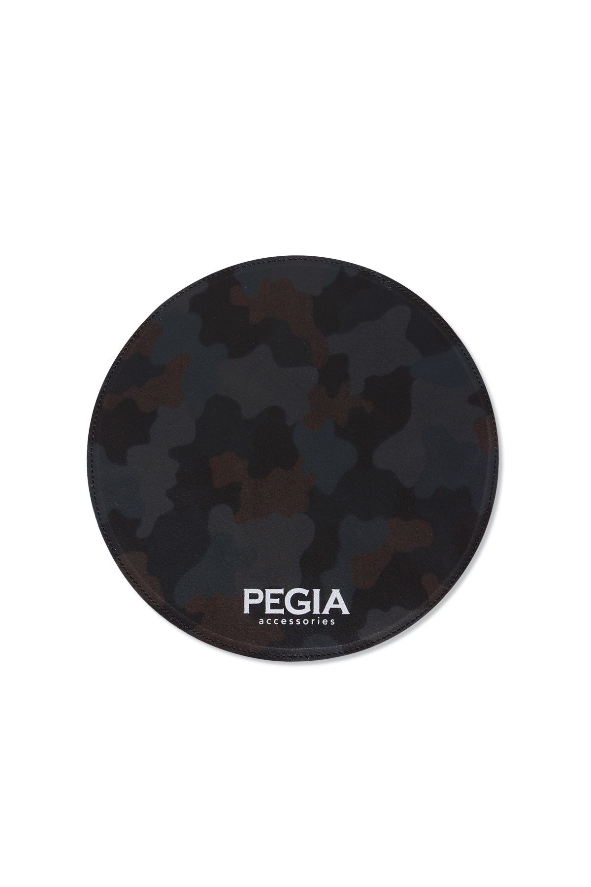 Pegia Genuine Leather Round Camouflage Printed Mouse Pad Dark-green