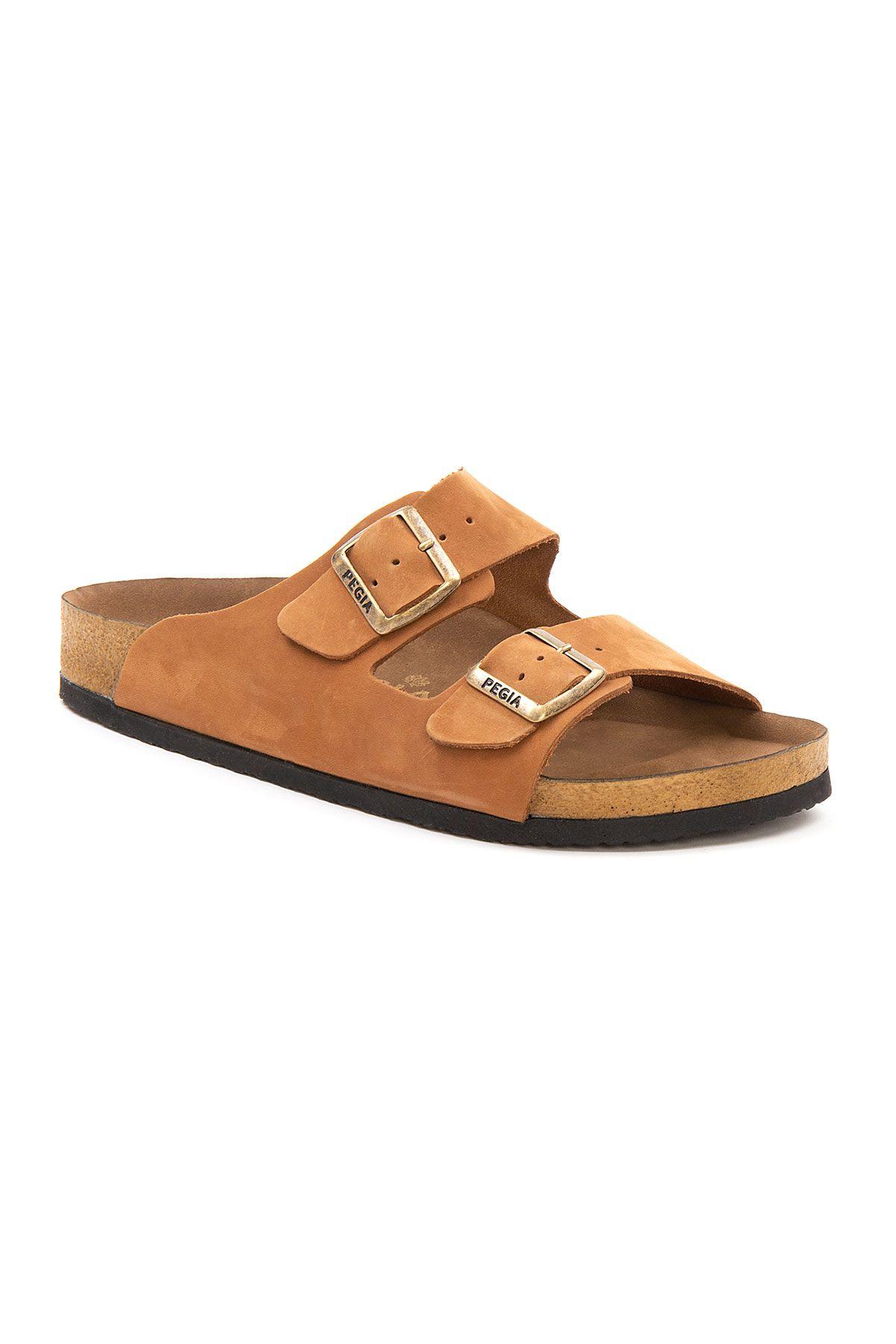 Pegia Men's Genuine Leather Slippers 215020 Ginger