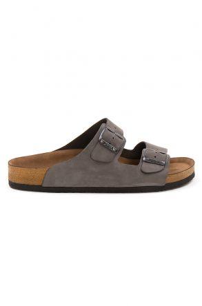 Pegia Men's Genuine Leather Slippers 215020 Gray