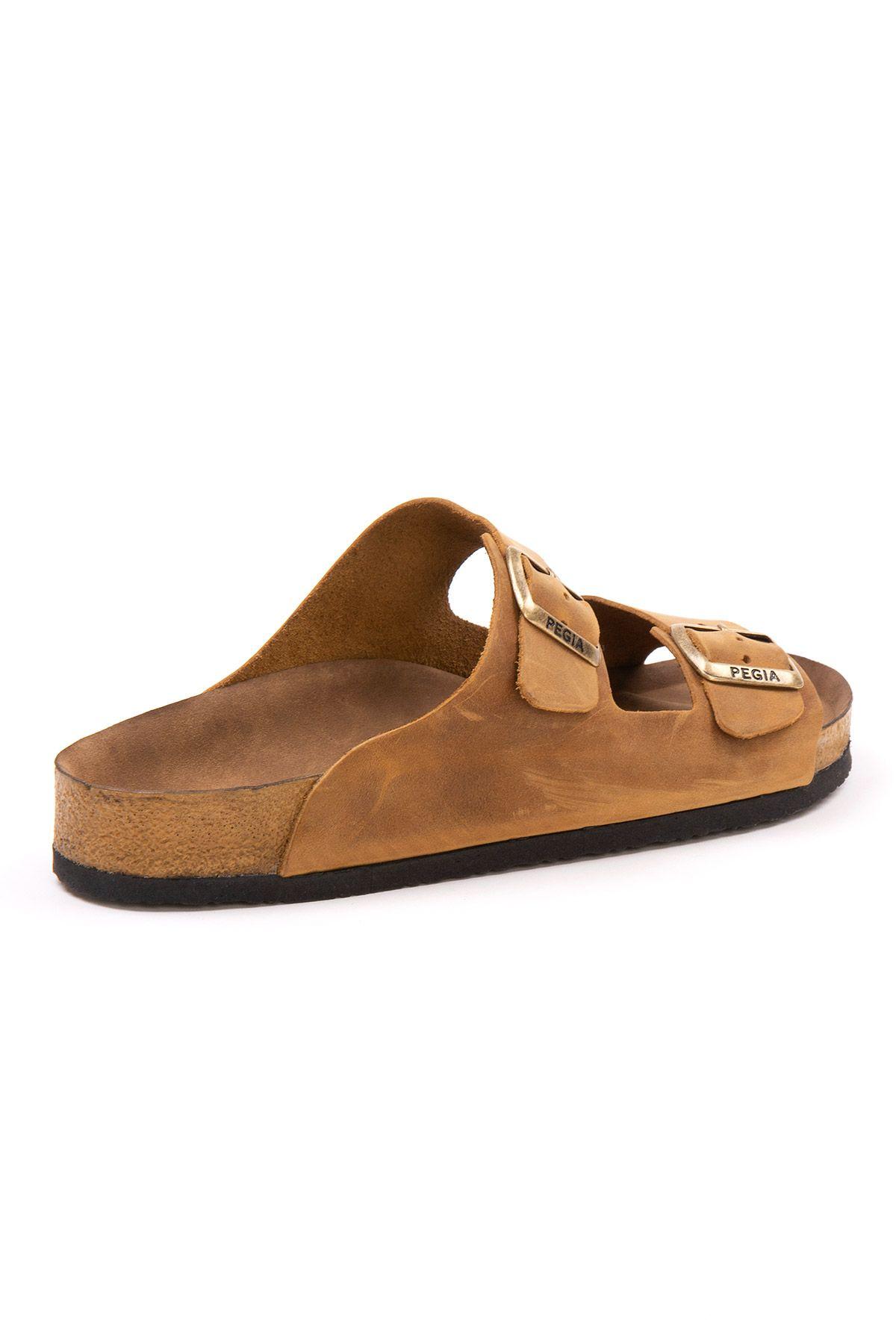 Pegia Men's Genuine Leather Slippers 215021 Ginger