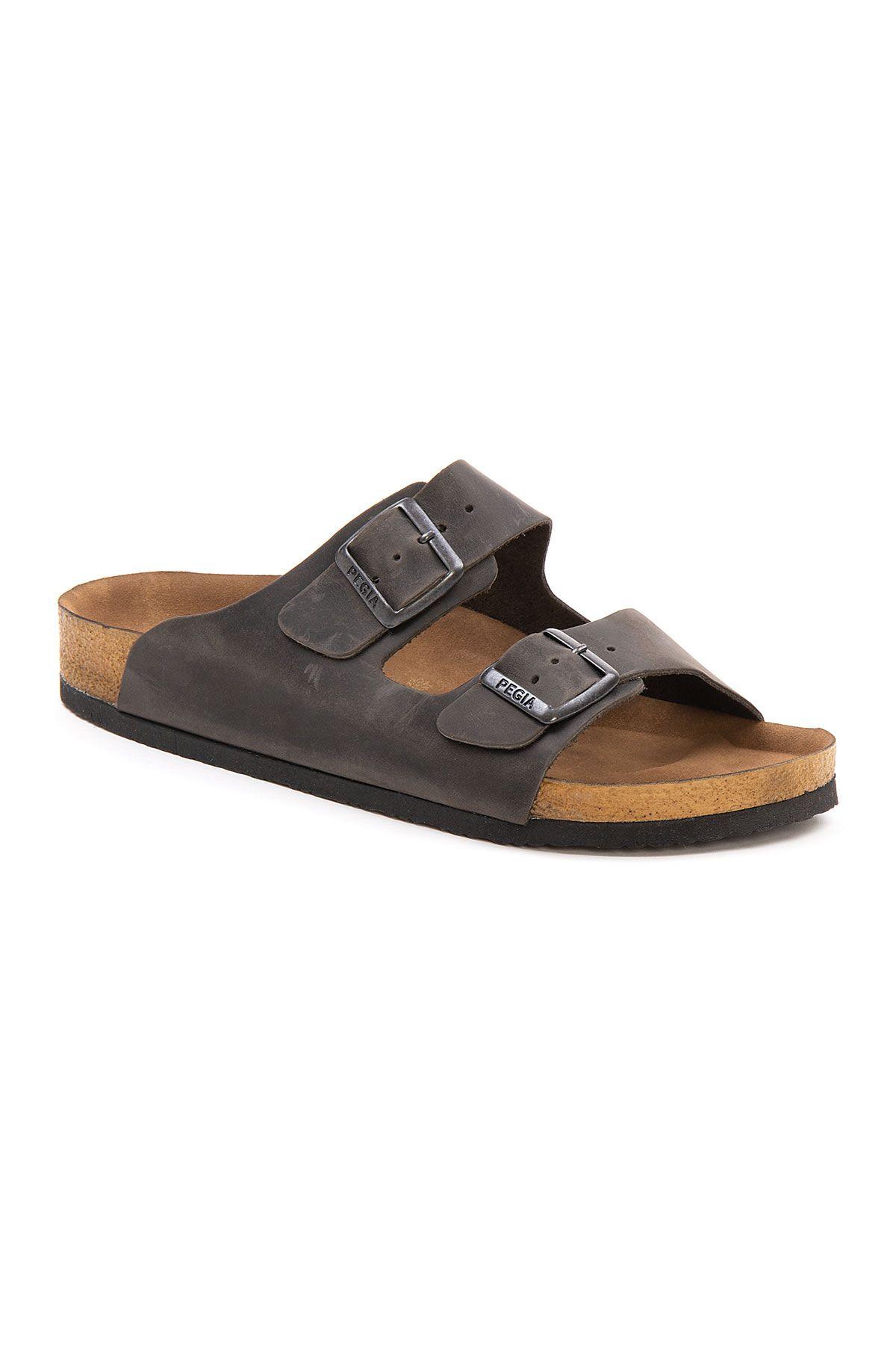 Pegia Men's Genuine Leather Slippers 215021 Anthracite-colored