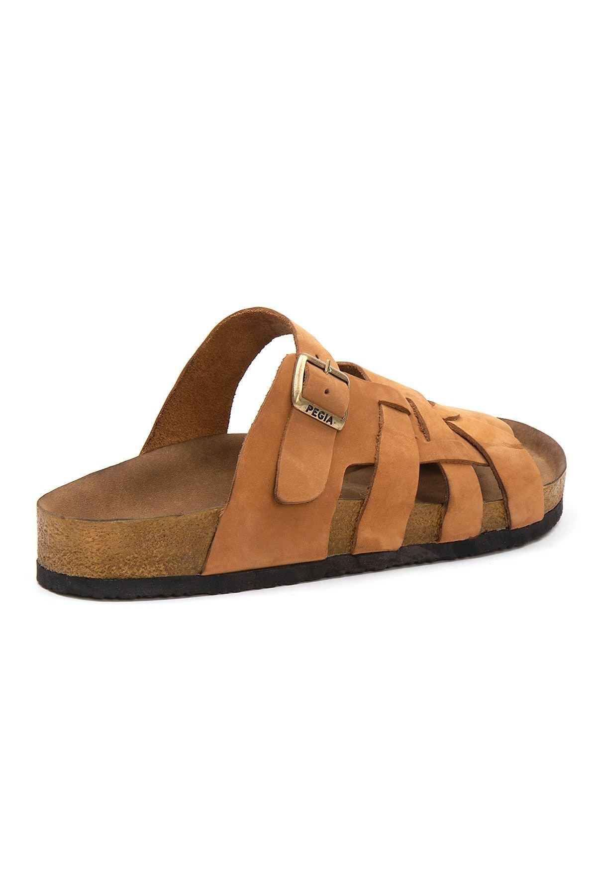 Pegia Men's Genuine Leather Slippers 215025 Ginger
