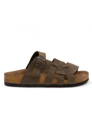 Pegia Men's Genuine Leather Slippers 215025 Khaki