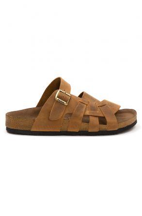 Pegia Men's Genuine Leather Slippers 215026 Ginger